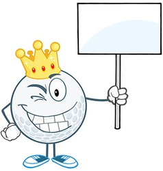 Golf ball character with sign vector