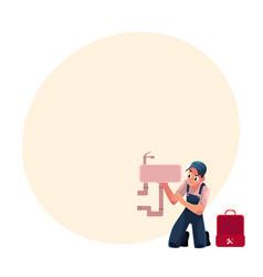 Plumbing specialist plumber repairing kitchen vector