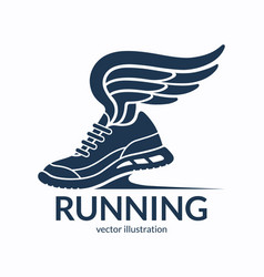 speeding running shoe symbol icon logo vector image