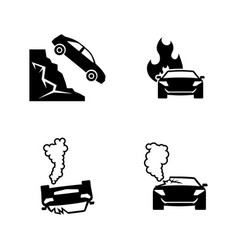road accident simple related icons vector image