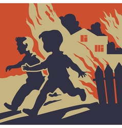 Children running away from fire flames vector
