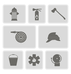 Monochrome set with firefighter flat icon vector