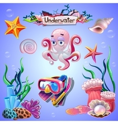 Set of underwater items vector