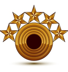Sophisticated emblem with 5 golden stars 3d vector