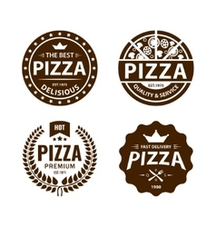 Vintage pizza logo label badge set vector