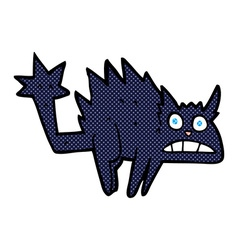 Comic cartoon frightened black cat vector