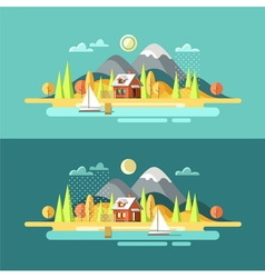 Nature autumn landscape vector