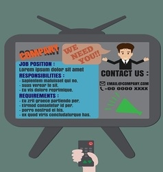 Job finder tv advertisement vector