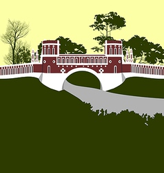 Moscow tsaritsino palace bridge vector