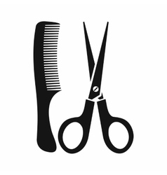 Scissors and comb icon simple style vector