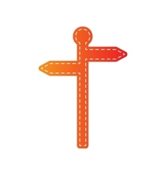 Direction road sign orange applique isolated vector