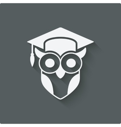 Owl in graduation cap wisdom symbol vector