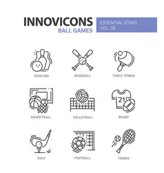 Ball games - modern line design icons set vector