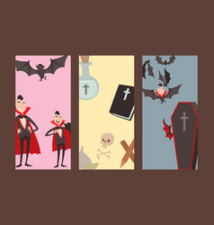 Cartoon dracula cards symbols vampire icons vector