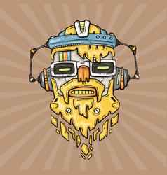 cartoon hipster robot head vector image
