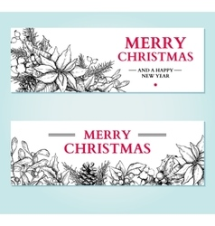 Christmas banner hand drawn vector image