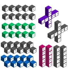 Disco music party cubic square fonts in different vector