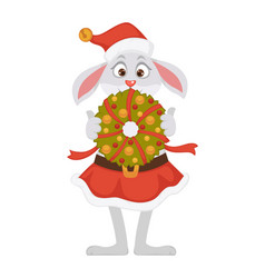 female bunny in christmas hat and skirt holds vector image