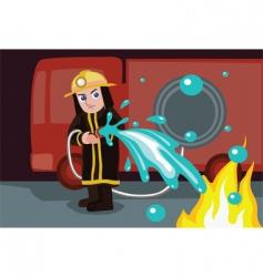 fireman watering vector image
