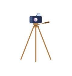 flat lens photo camera standing at tripod vector image vector image