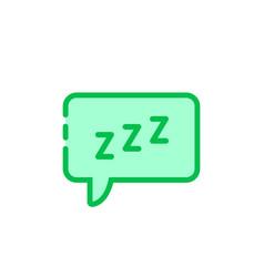 Green cartoon speech bubble with zzz logo vector
