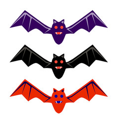 halloween black red purple flying bat icon set vector image vector image
