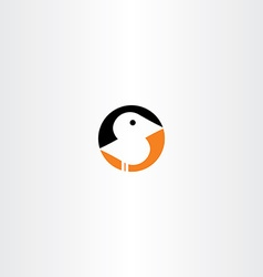 Little bird icon black orange vector