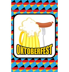 Oktoberfest Mug of beer and Sausage on a vector image