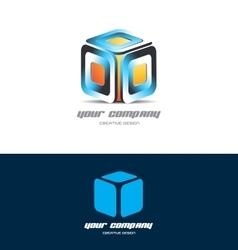 Orange blue 3d cube logo icon design vector image vector image