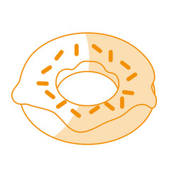 Orange silhouette shading cartoon donut with vector