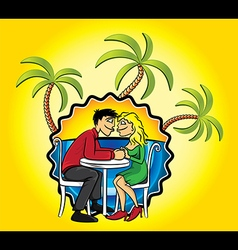 Romantic couple in love and holiday beach palms vector