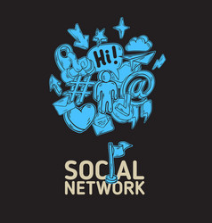 social network poster design with isolated vector image vector image