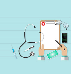 top view workplace of a doctor with equipment vector image