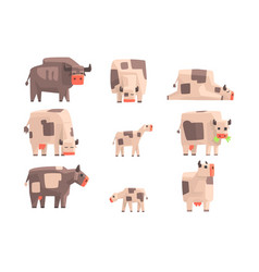 Toy simple geometric farm cows standing and laying vector