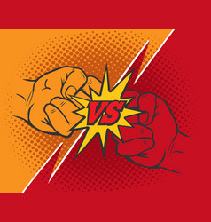 Versus rivalry fist background vector