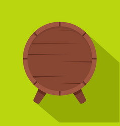 Wooden barrel on legs icon flat style vector