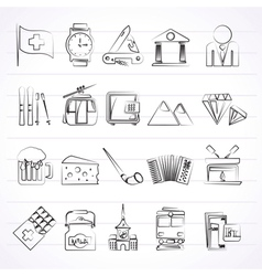 Switzerland industry and culture icons vector