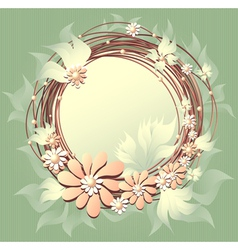 Scrapbooking floral frame with flowers pearls and vector
