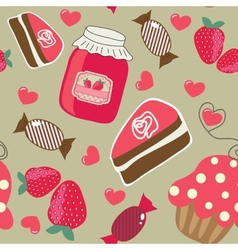 Cute background with small cupcake vector
