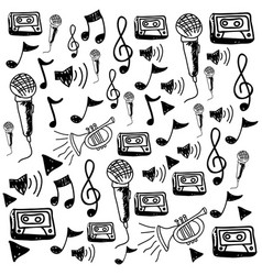 monochrome hand drawing pattern of music icons vector image