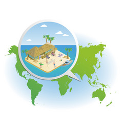 isometric summer vacation template vector image