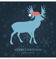 Christmas card with reindeer in santa hat vector