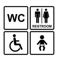 Black restroom icons vector