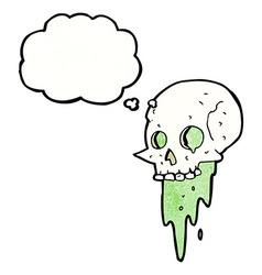 Gross halloween skull cartoon with thought bubble vector
