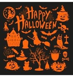 icon set for Halloweenon black background vector image