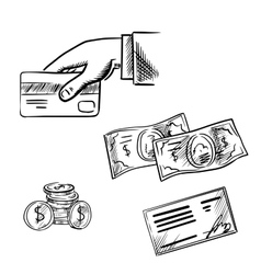 Payment methods sketch icons set vector