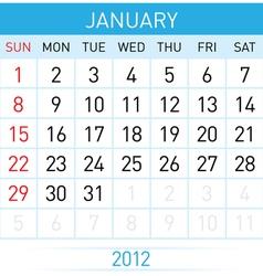 Calendar in january on white background for vector