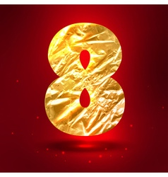 Figure 8 made of golden crumpled foil vector