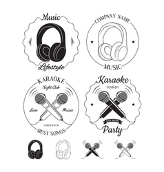 Set of music and karaoke logos labels badges vector
