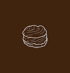 Choux pastry cream puff vector